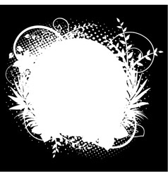 circle frame with floral decorations 2 on black vector image