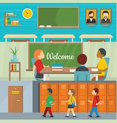 classroom school banner horizontal set flat style vector image