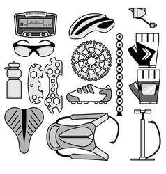 Collection of bicycle accessories line-art icons vector