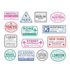 collection passport visa stamps isolated on vector image