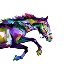 colorful horse running isolated on white vector image