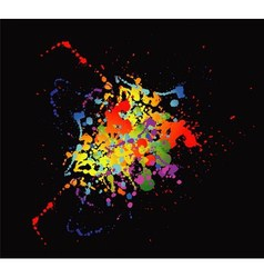 Colourful bright ink splat design with a black bac vector