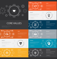 Core values infographic 10 line icons banners vector