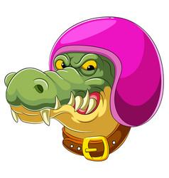 Crocodile wearing helmet racer vector