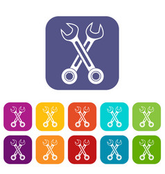 Crossed spanners icons set vector