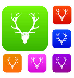 deer antler set collection vector image