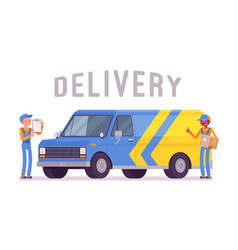 delivery van and workers vector image