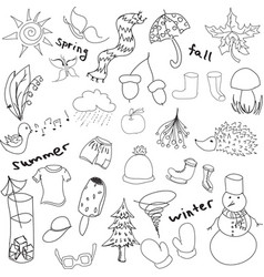 Drawn seasons stuff vector
