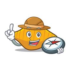 Explorer conchiglie pasta mascot cartoon vector
