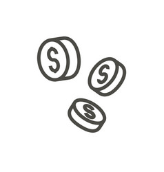 falling coins icon outline money line cas vector image