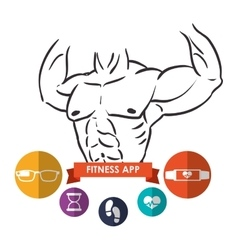 Fitness app technology icons vector