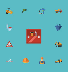 flat icons toolkit excavator steamroller and vector image