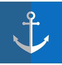 Flat white anchor on blue vector image