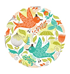 Floral pattern with a birds vector