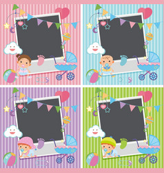 Four photo frames with baby items vector