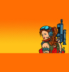 Futuristic woman with guns close-up vector