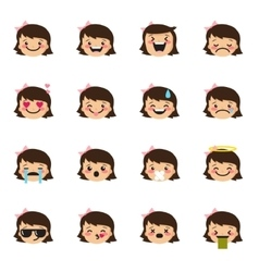 Girl emoticons collection Cute kid emoji vector