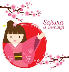 Girl in kimono with cherry blossoms branch vector