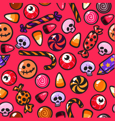 Halloween seamless pattern with cartoon candies in vector