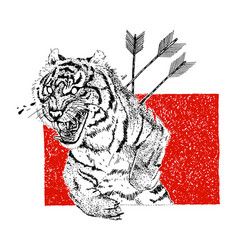 Hand drawn aggressive tiger with arrows and tears vector