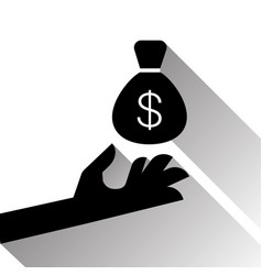 hand holding money sack with dollar sign vector image