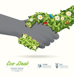 Handshake eco deal concept with hand leaf and flow vector