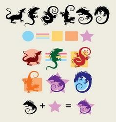 Iguana Silhouette Symbols vector