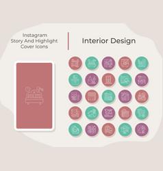Interior design social media story and highlight vector