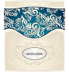Invitation or Frame in dark blue and beige colors vector