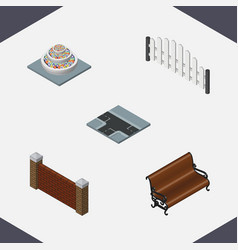 Isometric city set of barrier sitting barricade vector