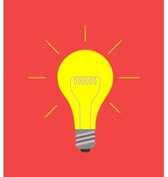 light bulb icon on red idea concept vector image