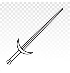 Long sword or broadsword blade line art icons vector