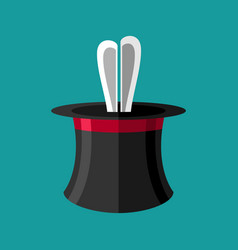 Magic trick rabbit in hat magical cap and bunny vector