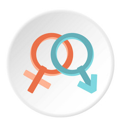 male and female gender signs icon circle vector image