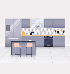 modern kitchen interior kitchen utensils vector image
