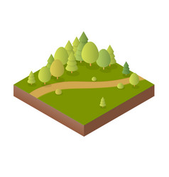 nature forest landscape of isometric vector image