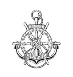 nautical steering wheel vector image
