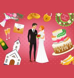 newlyweds card bride and groom wedding ceremony vector image