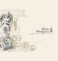On a writers theme with sketches vector