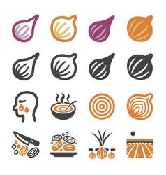 onionshallot icon set vector image