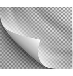 Page curl with shadow on blank sheet paper vector
