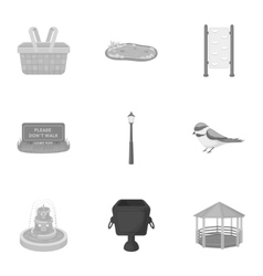 Park set icons in monochrome style Big collection vector