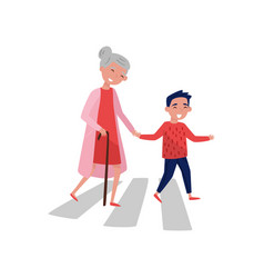 Polite boy helps elderly woman to cross the road vector