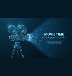 polygonal wireframe movie projector show film vector image