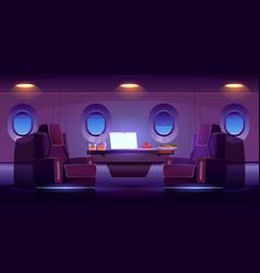 Private jet plane interior luxury airplane cabin vector