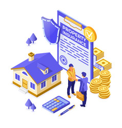 propery house insurance isometric vector image