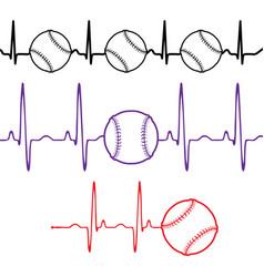 Pulse baseball set different colors vector