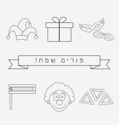 Purim holiday flat design black thin line icons vector