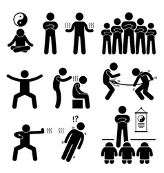 qigong qi energy power stick figure pictogram vector image