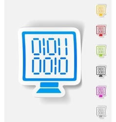 realistic design element computer screen with vector image